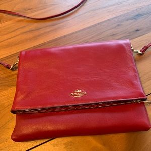 NWOT Coach red leather crossbody purse bag clutch